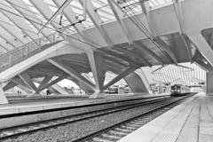 LIEGE BELGIEN - December 2014: Den Liege-Guillemins järnvägstaen Fotografering för Bildbyråer