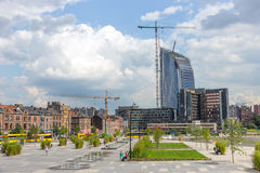 Liege Belgium. LIEGE, BELGIUM - AUG 5, 2014: View on the city of Liege from the central railway station Liege-Guillemins Royalty Free Stock Photography