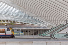 LIEGE, BELGIUM - December 2014: View on escalators in the Liege- Royalty Free Stock Images