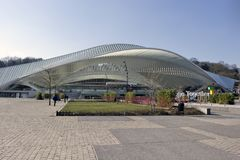 Liege, Belgium - New Rail Station Hall. LIEGE, BELGIUM - FEBRUARY 28: The new station is made of steel, glass and white concrete. It has a monumental canopy 200 Stock Photos