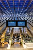 Santiago Calatrava Liege Guillemins train railway station portra. Liege, Belgium - May 9, 2017: Liege Guillemins train railway station at twilight by Santiago Royalty Free Stock Images