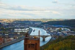 Liege - flod sikt på en höstdag Royaltyfria Bilder