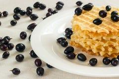 Liege gofry z jagodami na pielusze Fotografia Royalty Free