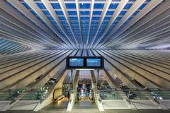 Liege Guillemins drevjärnvägsstation Santiago Calatrava Belgiu Fotografering för Bildbyråer