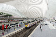 Liege-Guillemins railway station. LIEGE, BELGIUM - AUG 5: The Liege-Guillemins railway station on August 5th, 2014 in Belgium. This station is made of steel Stock Image