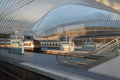 Liege-Guillemins railway station. LIEGE, BELGIUM - MAR 29, 2014: The Liege-Guillemins railway station on August 5th, 2014 in Belgium. This station is made of Stock Photo
