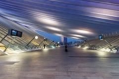 Liege Guillemins train railway station Santiago Calatrava Belgiu. Liege, Belgium - May 9, 2017: Liege Guillemins train railway station at twilight by Santiago Stock Image