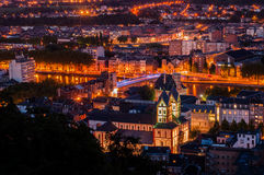 Liege By Night Royalty Free Stock Photos
