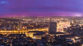 Liege w Belgium od montagne de bueren Zdjęcie Royalty Free