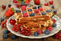 Liege waffles with berries Stock Photos