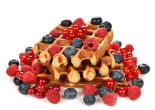 Liege waffles with berries Stock Photography