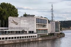 Palais des congres building in liege belgium. Liege, Wallonia/belgium - 31 07 18: palais des congres building in liege belgium stock photo
