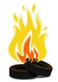 Liegende brennende Reifen Auch im corel abgehobenen Betrag Lizenzfreie Stockfotos