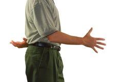 Liegenmann, der Hände mit den gekreuzten Fingern rüttelt Lizenzfreies Stockbild
