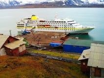 Liegeplatz der Stadt von Barensburg norwegen spitsbergen stockfoto
