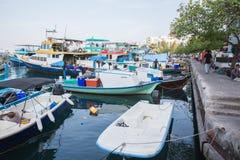 Liegeplatz mit Handelsbooten im Mann Lizenzfreies Stockfoto
