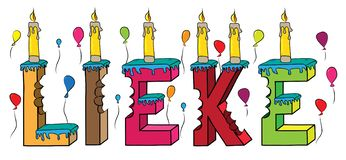 Lieke female first name bitten colorful 3d lettering birthday cake with candles and balloons.  vector illustration