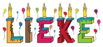 Lieke nome fêmea 3d colorido mordido que rotula o bolo de aniversário com velas e balões ilustração do vetor