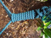 Lien en spirale bleu de noeud de corde de Manille long photographie stock