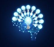Lien numérique d'affaires de cerveau abstrait de concept et ampoules dessus illustration libre de droits