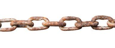 Liens de la vieille chaîne en acier rouillée d'isolement sur le blanc Photo stock