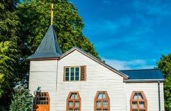 Liepaja houten kerk Stock Afbeeldingen