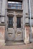 LIEPAJA, LATVIA - JULY 25, 2016: Old wooden house door stock photography