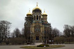 LIEPAJA, LATVIA - March, 2017: The gold domed St. Nicholas Cathedral in Liepaja. LIEPAJA, LATVIA - March, 2017: The gold domed St. Nicholas Orthodox Sea royalty free stock image
