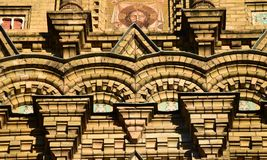 Liepaja Lettland, 15 mars, 2018 Slut upp av Sten Nicholas Orthodox Sea Cathedral Fotografering för Bildbyråer