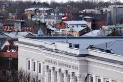 Liepaja Lettland, 15 mars, 2018 Universitetet av den LiepÄ jaen Royaltyfria Foton