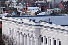 Liepaja Lettland, 15 mars, 2018 Universitetet av den LiepÄ jaen Royaltyfri Foto