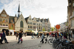 Lier. BELGIUM - OCTOBER, 26: Unidentified people on the street market, on October 26, 2013, in , Belgium.  is a municipality located in the Belgian province Royalty Free Stock Photography