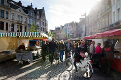 Lier. BELGIUM - OCTOBER, 26: Unidentified people on the street market, on October 26, 2013, in , Belgium.  is a municipality located in the Belgian province Royalty Free Stock Image