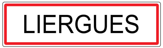 Liergues city traffic sign illustration in France Stock Photography