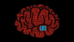Lies Animated Word Cloud. On a black background stock video