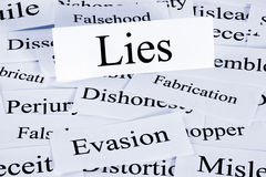 Lies Concept. A conceptual look at lies or lying, evasion and dishonesty Stock Image