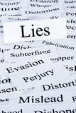 Lies Concept. A conceptual look at lies or lying, evasion and dishonesty Stock Images