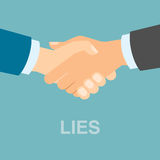 Lies contract handshake. Concept of two businessman who are hypocrite, swindler and lier. Unfair deal Stock Photo