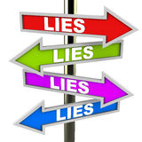 Lies everywhere. Lies on road sign pointing everywhere, a world full of lies Stock Image