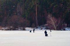 lies för fiskeis bara blockerade vinterzander Flod sjö nära skog i is Sportfiskare Fishermens under din favorit- fritid Royaltyfri Fotografi