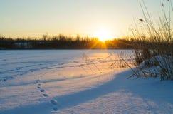 lies för fiskeis bara blockerade vinterzander Gryning i vinter Royaltyfria Bilder