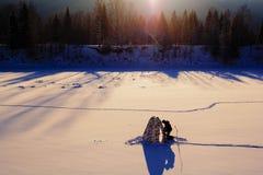 lies för fiskeis bara blockerade vinterzander Tält taiga, skog som är lös Det Urals landskapet Royaltyfria Bilder