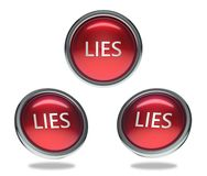 Lies glass button. Lies round shiny red 3 angle web icons with metal frame,3d rendered isolated on white background Stock Image