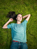 Lies on green moss relaxing Royalty Free Stock Images