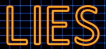 Lies neon sign. Abstract 3d rendered words lies orange neon sign on blue wire background Stock Image