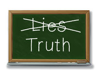 Lies truth trust security isolated reliability. Chalk board with lies crossed out and the text truth representing trust and integrity business concepts Royalty Free Stock Photo