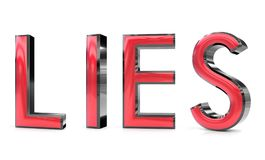 Lies 3d word. The lies word 3d rendered red and gray metallic color , isolated on white background Royalty Free Stock Photography