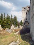 Lietava城堡,斯洛伐克废墟  库存图片