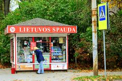 Lietuvos Spauda newspapers selling system in Vilnius city Royalty Free Stock Photo