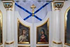 Lieu de culte sur l'aurore de croiseur, St Petersburg, Russie Photos stock